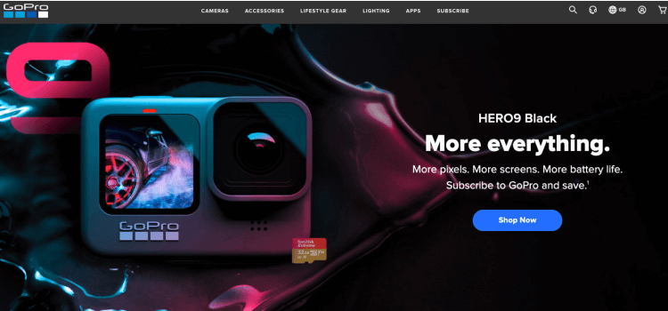 The Go Pro homepage