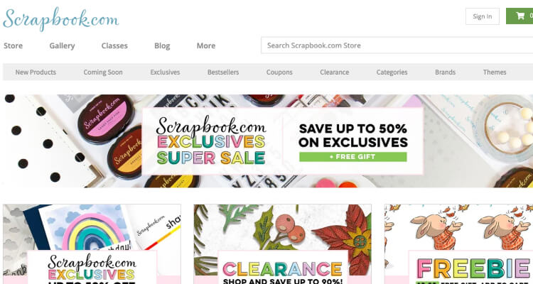 Scrapbook website with affiliate products on Pinterest