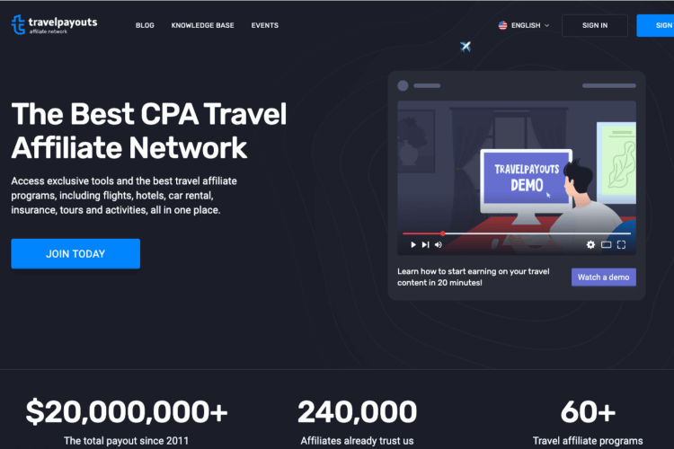 The Travel Payouts affiliate network