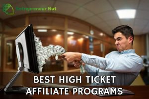 A man pulling money out of the computer from the best high ticket affiliate programs