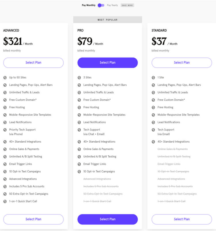 The LeadPages pricing table